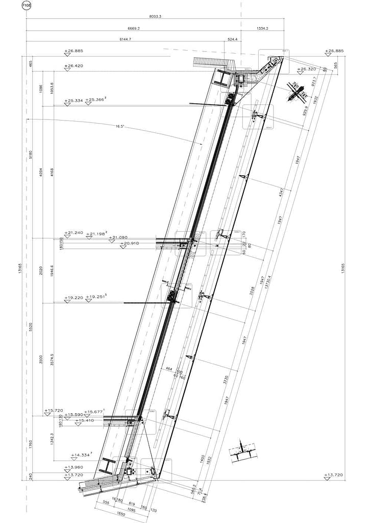 3. kép: Döntött üveghomlokzat metszete (Forrás: App Fassaden aus Metall + Glas)