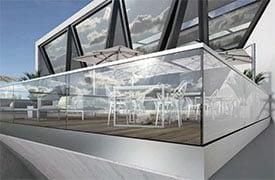 Vízelvezető megoldások üvegkorlátok rögzítéséhez