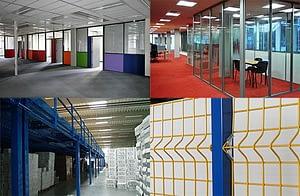 Laune válaszfal üvegfal beltéri kerítés galéria padlófestés öltözőberendezés